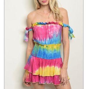 Tie-Dye Short sleeve off-shoulder romper minidress